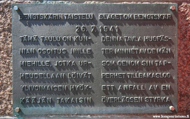 The memorial plaque, which has been attached to the Bengtsk�r lighthouse building